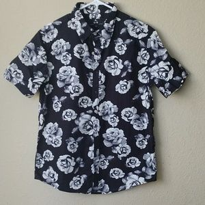 Black button-up with white roses